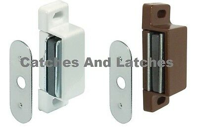 2 x  Magnetic Catches 2kg Pull  WHITE or BROWN Kitchen Cabinet Door Magnets