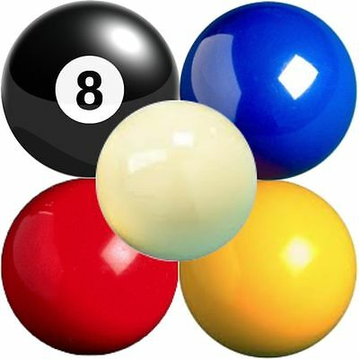"""2"""" Pool Ball Blue Red Yellow Black 8 1 7/8"""" White Cue Spare Pub Standard Size"""