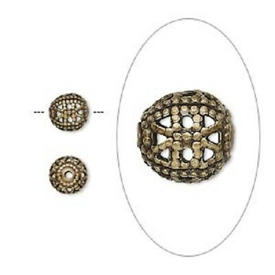 8242MB Bead, Metal, Antiqued Gold Brass, Filigree Round, 6mm, 100 Qty