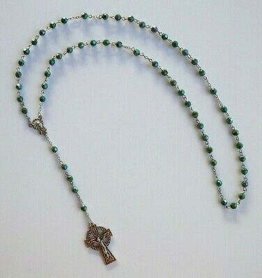 Irish Green Faceted Beads Acrylic Rosary