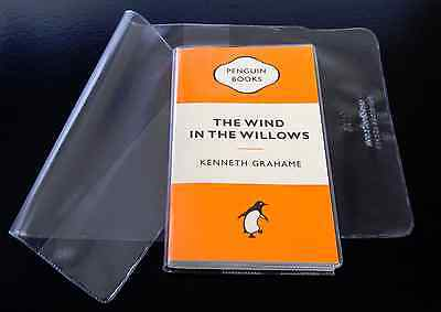 10x CLEAR PLASTIC PAPERBACK BOOK COVERS 180mm size