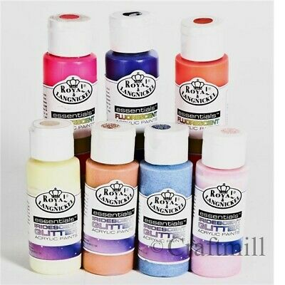 10 Fluorescent Metallic Glitter Acrylic Artist Hobby Paints. Pick from 48 colors