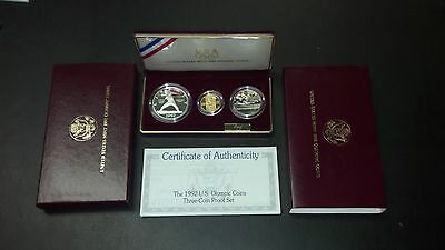 1992 Olympic Commemorative Proof Set - $5 Gold, $1 Silver, Half Dollar!