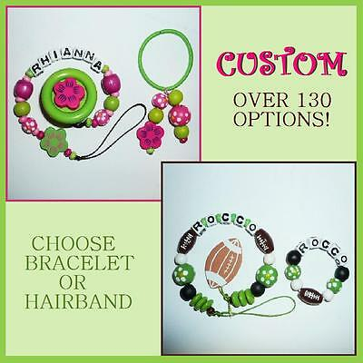 Set of 2: Personalized Wood Beaded Pacifier Clip Holder & Bracelet or Hairband