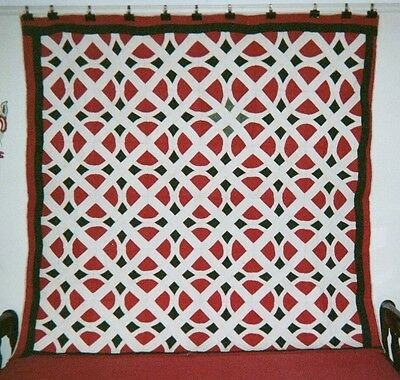 """RAILROAD CROSSING"" Quilt: 76"" x 76"", c.1860-75, New Hampshire. Cottons."