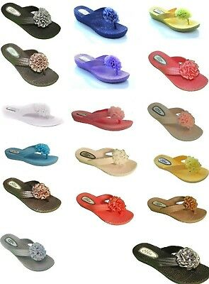 Ladies Womens New Ella Toe Post Sandals Low Wedge Diamante Flip Flops Size 3 - 8