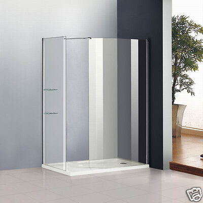 1400x800mm Walk In Shower Enclosure Wet Room Curved Glass Cubicle and Stone Tray