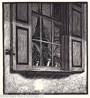 Vintage MATTED 1933 Print Smith WOODCUT CHARLESTON Carolina WINDOW Curtain Plant