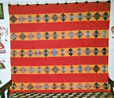 """FOUR PATCH in BARS"" Quilt: 74"" x 80"", c.1880s, from Center Co., PA"