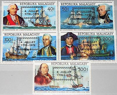 MADAGASCAR MALAGASY 1976 808-12 Independence 4th July ovp War Ships Schiffe MNH