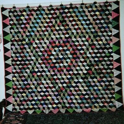 """TUMBLING BLOCKS""/""STAR"" w Triangles Border QUILT: 78""x74"", c1865, Silks, Quaker"