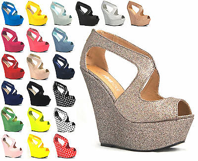WOMENS LADIES FASHION PLATFORM PEEP TOE WEDGES!! EXCLUSIVE!! UK SIZES 3-8