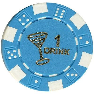 "100 Free Drink Poker Chips ""martini Glass"" Style Tokens Restaurants Or Bar*"
