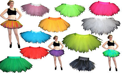 Neon UV Childrens/Kids 7 Layers Tutu Skirts Party Halloween Dance Wear S/M & M/L