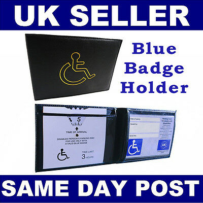 Disabled Blue Parking Badge Holder Protector Cover Wallet PU Leather New UK