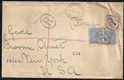 Queensland covers 1895 R-cover from Brisbane to New York