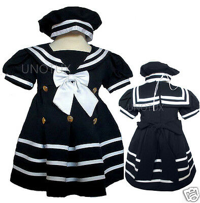 New Baby Girl Toddler Formal Sailor Party Dress Outfits S,M,L,XL,2T,3T, Navy