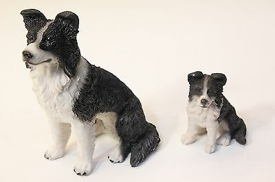 NEW Realistic Detailed Black & White Sheep Dog Border Collie Ornament - 2 Sizes