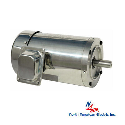 1/2 hp electric motor 56c stainless steel washdown 1200 rpm round 3 phase