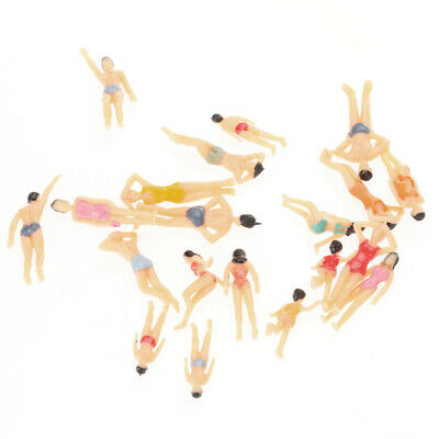 20pcs 1:50 Painted Model Beach People Figures Adults Kids Standing Seated Pose