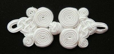 6 pairs large white coil Chinese Frogs Closure buttons hand made sewing