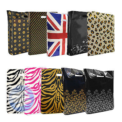 """Strong Plastic Printed Carrier Bag/ Shopping Gift Bags - Medium: 15"""" x 18"""" x 3"""""""