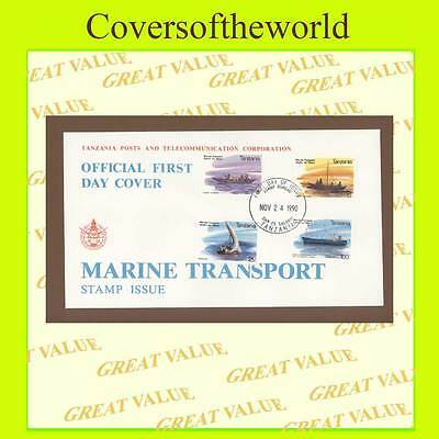 Tanzania 1990 Marine Transport set on First Day Cover
