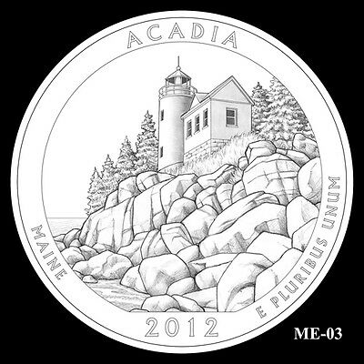 2012 P&d Acadia National State Park Quarter Set Bu Mint 25 Cent Ms Not Silver