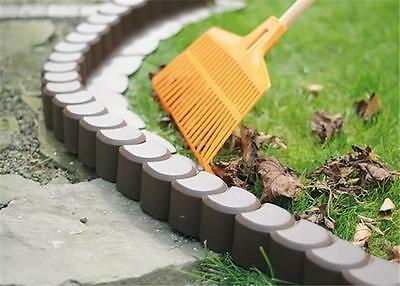 AP1 Garden fence lawn edging boarder edge hammered palisade fencing plastic 3,1m