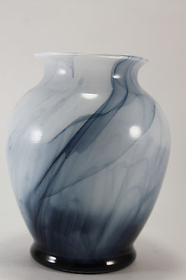 Art Glass Vase Gray White Satin Blue