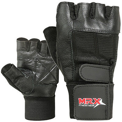 Weight Lifting Gym Training Gloves Fitness Exercise Long Wrist Strap MRX Black