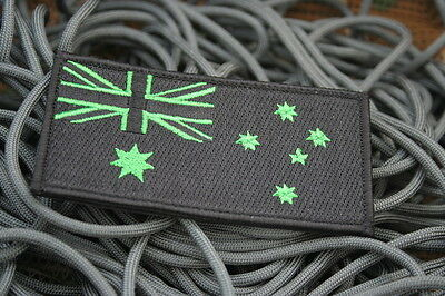 Australian Flag Patch Sew/Stitch On Badge Full Embroidered w/hook loop L10cm Bk
