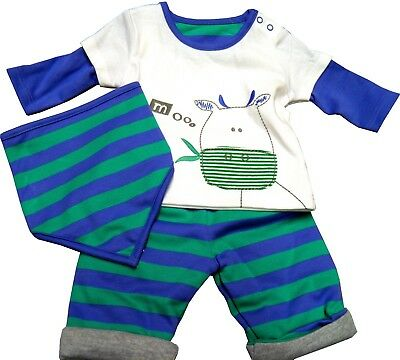 Baby Boys Cotton Top & Joggers Set Outfit & Bib 1 Month 6-9 & 9-12 months M&  S