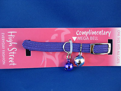 Cat Collar High Street Braided Elastic Safety Stretch PURPLE with matching Bell
