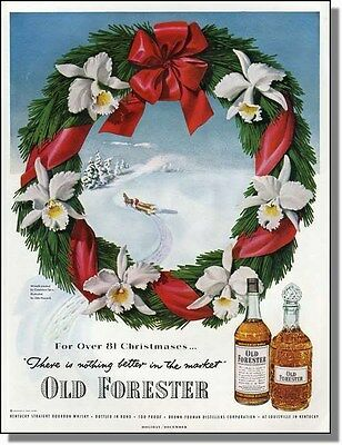 1951 Wreath Yule Log Sleigh Old Forester Christmas-Ad