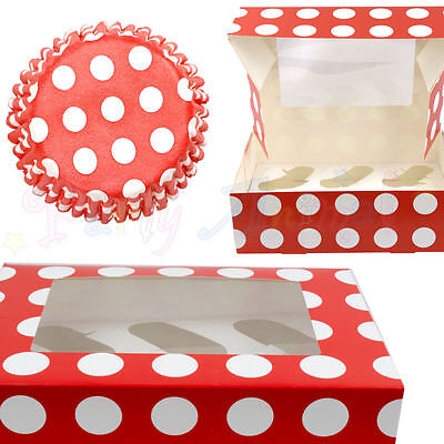 Culpitt Red Polka-Dot Cupcake CASES or BOXES & inserts Baking/Muffin/Bun/Cake