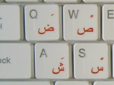Arabic Standard TRANSPARENT Keyboard Stickers RED Letters Fast Free Postage