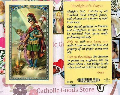 St Florian with Firefighter's Prayer - Laminated Holy Card