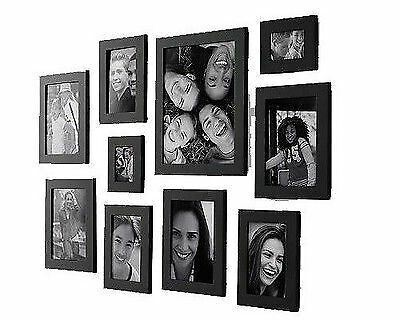 10 Pc Multi Picture Photo Frame Set Wood Wooden 10 Pieces Collage Photomontage