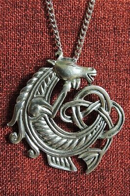 Celtic Horse Seahorse Endless Knot Iona Irish SCA Silver Pewter Pendant Necklace