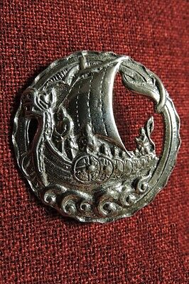 Viking Ship Norse Nordic Odin Longship Thor SCA Medieval Silver Pewter Brooch