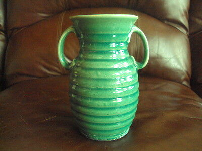 Vintage Mccoy Green Ringed Double Handle Vase