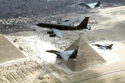 US AIR FORCE KC-135R, F-15 and a F-16 AIRCRAFTpyramids of Egypt 8X12 PHOTOGRAPH