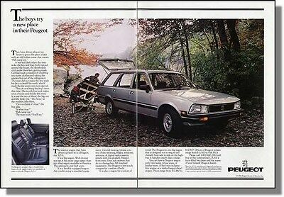 1985 Peugeot 505 - Dad & Son Going Fishing - 2pg Car Ad