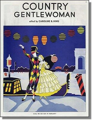 1937 Country Gentlewoman Cover ~ Venice Carnival in Italy ~ artwork page