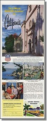 1953 Santa Barbara Mission - Union Pacific Railroad Ad
