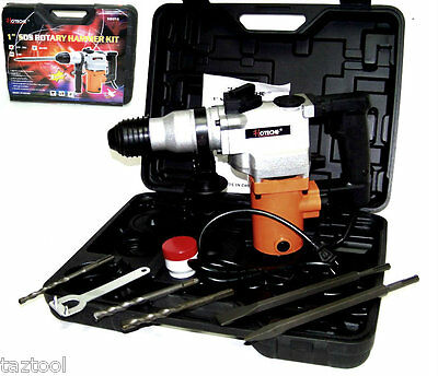 """1"""" Rotary Hammer Drill  Electric Power w/ Punch Chisel Drill Bits SDS plus 3/4HP"""