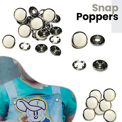 10, 20, 50 or 100 Pearl White Press Studs Snap Fasteners/Popper 10mm (Prym)