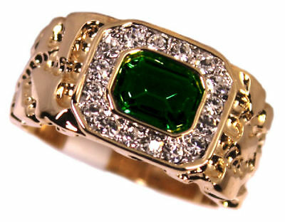 Mens Simulated Emerald Green 18kt Gold Plated Ring New
