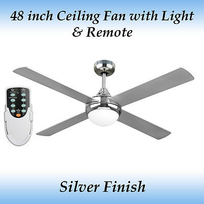 Fias Revolve 48 Inch Ceiling Fan Brushed Chrome with Light and Remote